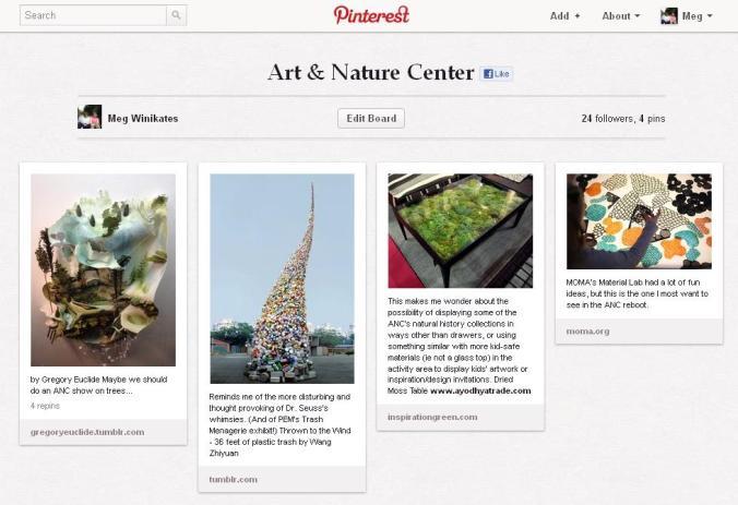 art & nature center pinboard