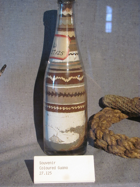 Not actually sand- colored guano bottle art found at the Halifax Maritime Museum in Nova Scotia this summer. Check back later for a 'museum highlights' post from my recent travels!