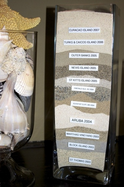 Sand collected from a series of travels as a slowly evolving souvenir. Found on Pinterest