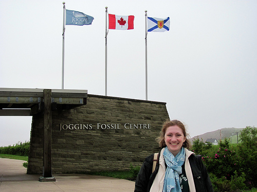 In front of the Fossil Center, in the fog