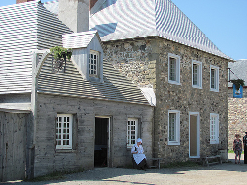 Rubbing elbows with the lower class tavern patrons for lunch in Louisbourg.