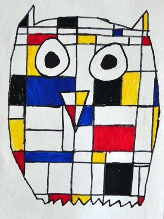 Mondrian Owl on Artsonia, drawn by a fourth grade student