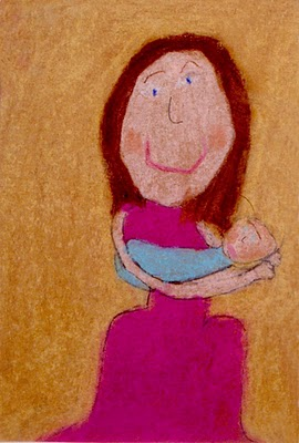 Child's pastel drawing inspired by Mary Cassatt.  Click for source
