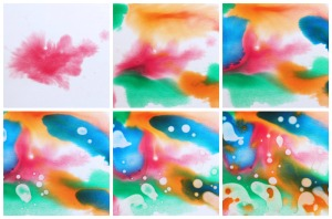 Oil and Watercolor interactions from Easy Art Activities with Kids