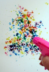 Color mixing via water gun, by Dreamscaping with June Rollins