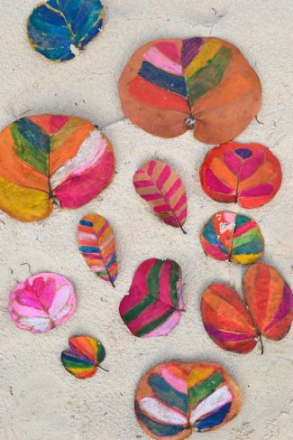 Painting patterns on leaves with watersoluble crayons.  Click for source.