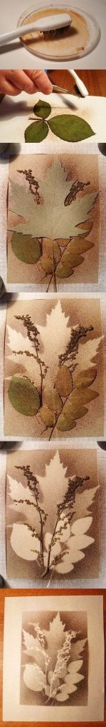 Leaf printing with splatter technique.  Click for source.