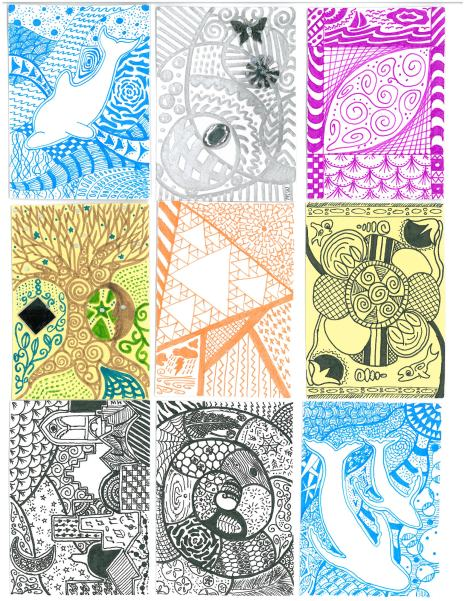 Doodles are good for the brain! Zentangle-style artist trading cards by Meg Winikates