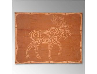 Moose on birchbark, etching by David Moses Bridges, featured artist in Branching Out