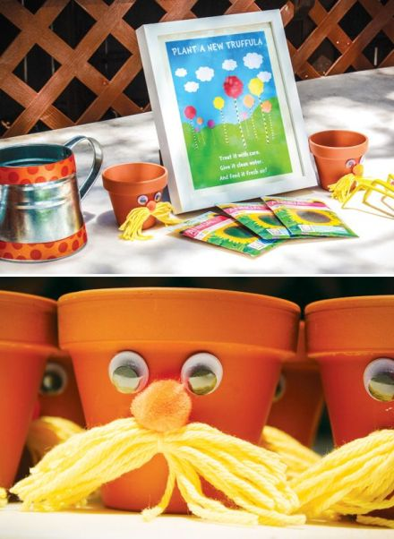 Creating planting pots with a Lorax theme!  This link leads to a whole Lorax-themed party post, but a number of the ideas there could translate to the classroom/art studio/museum.  Click for source.
