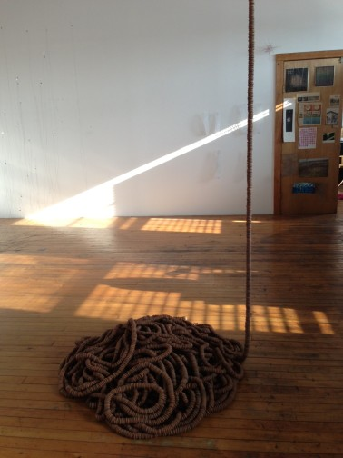 """""""Tangle"""" by Beth Galston, featuring thousands of acorn caps.  Now on view at the Peabody Essex Museum."""
