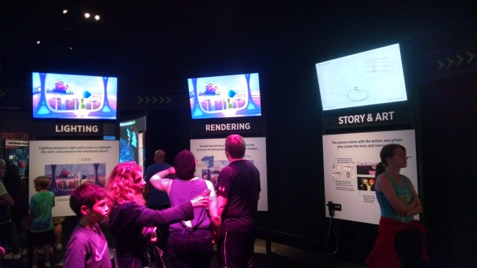 This circular exhibit element allowed you to track the evolution of a scene through the elements of the design and implementation process, but while visually engrossing was a little short on the 'concept and storyboarding' section.